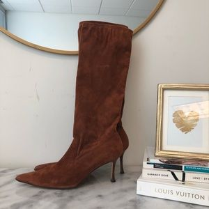 Manolo Blahnik Suede Knee High Boots